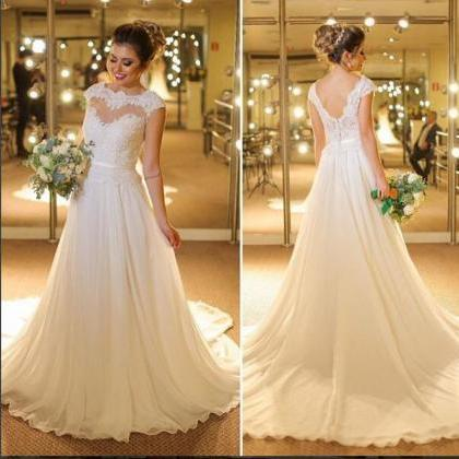 Elegant A-line Wedding Dress Sheer..