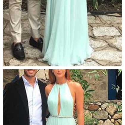 Elegant green backless long prom d..