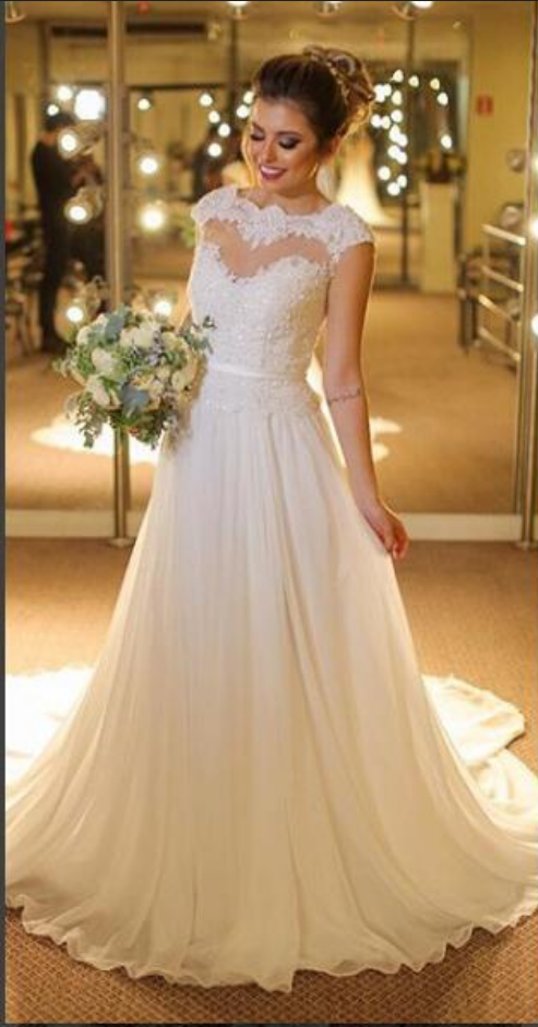 Elegant A-line Wedding Dress Sheer Neck Chiffon Long Wedding Dresses Bridal Dress Wedding Gown