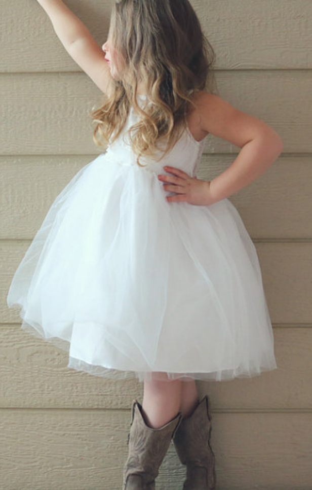 Princess A-line Short Flower Girl Dress with Open Back