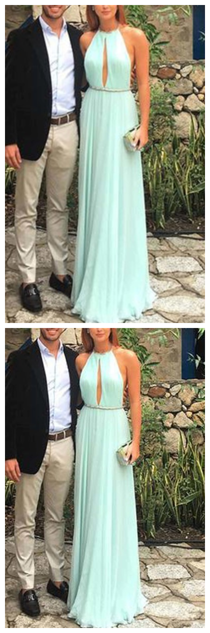 Elegant green backless long prom dress, green evening dress , Formal Dress