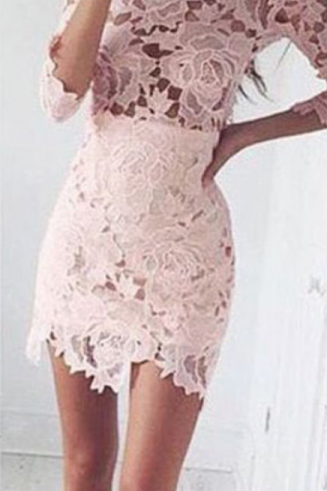 Pink Lace Homecoming Dresses, Half Sleeve Homecoming Dresses, See Through Homecoming Dresses, Sexy Homecoming Dress, Charming Homecoming Dresses, Cheap Homecoming Dresses, Popular Homecoming Dresses,