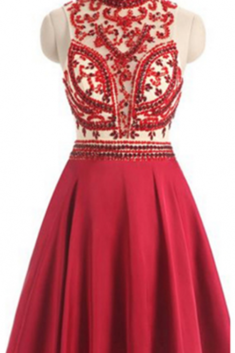 homecoming dresses, High Neck homecoming dresses,open-back homecoming dresses, Beaded homecoming dress,Sexy homecoming dresses,Short homecoming dress,Red homecoming dress,Keyhole Back Homecoming Dress,homecoming dress