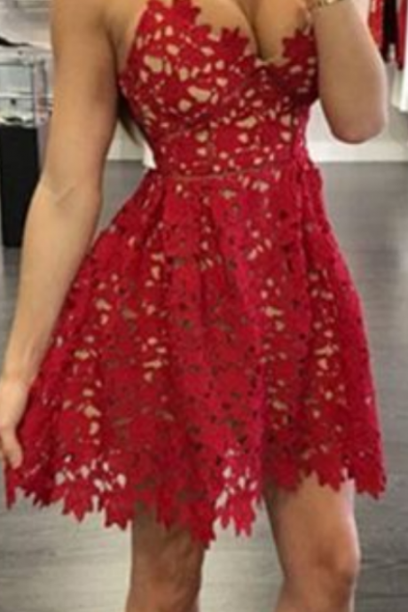 Homecoming Dresses,Lace Homecoming Dresses,Red Homecoming Dresses,Spaghetti Homecoming Dresses,Sexy Homecoming Dresses,Cheap Homecoming Dresses