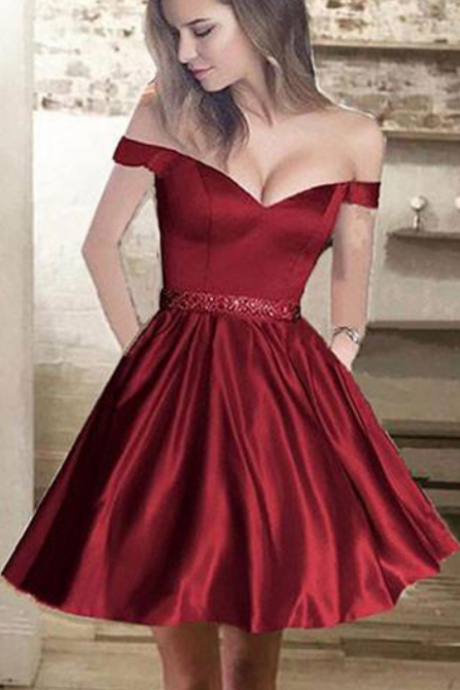 Charming Off Shoulder Homecoming Dresses, Homecoming Dresses, Satin Homecoming Dresses, Short Homecoming Dresses