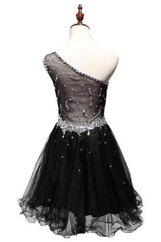 Sexy A-Line Spaghetti Straps Backless Black Lace Short Homecoming Dress