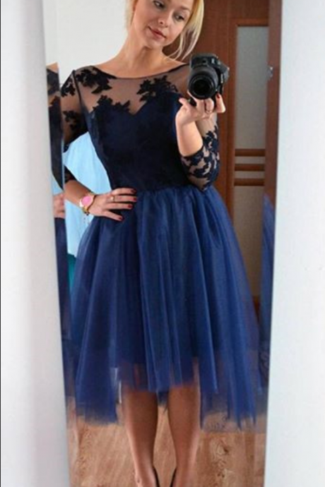 Long Lace Sleeve Homecoming Dress, Navy See Through Homecoming Dresses, Short Prom Dresses