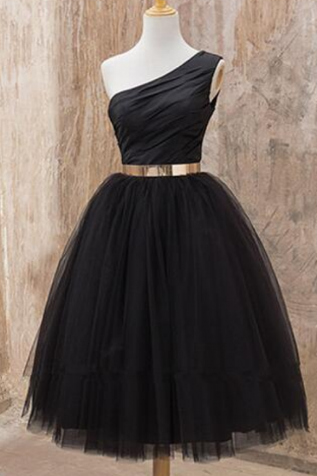One shoulder Homecoming dress, Black homecoming dress, short homecoming dress