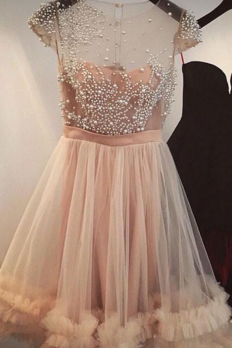 Halter Fashion A-Line Jewel Cap Sleeves Tulle Short Homecoming Dress With Beading