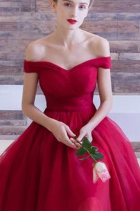 Red Homecoming Dresses,off the shoulder Homecoming Dresses,Simple Homecoming Dresses,tulle pleat homecoming dress