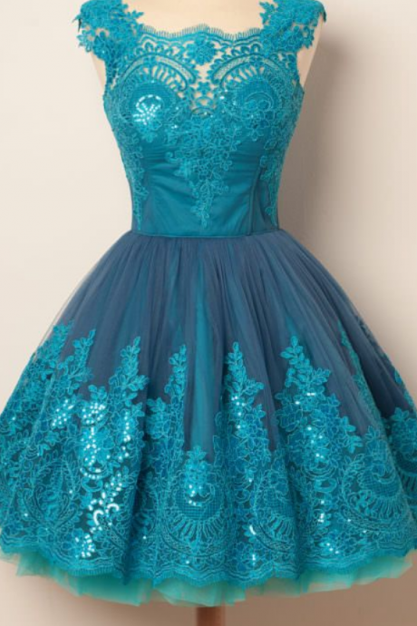 Elegant Homecoming Dresses,A-line Homecoming Dresses,Applique Homecoming Dresses,Blue Homecoming Dresses,Cap Sleeves Homecoming Dresses,Short Prom Dresses,Party Dresses