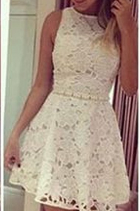 Short white lace simple see through mini cute homecoming prom dress