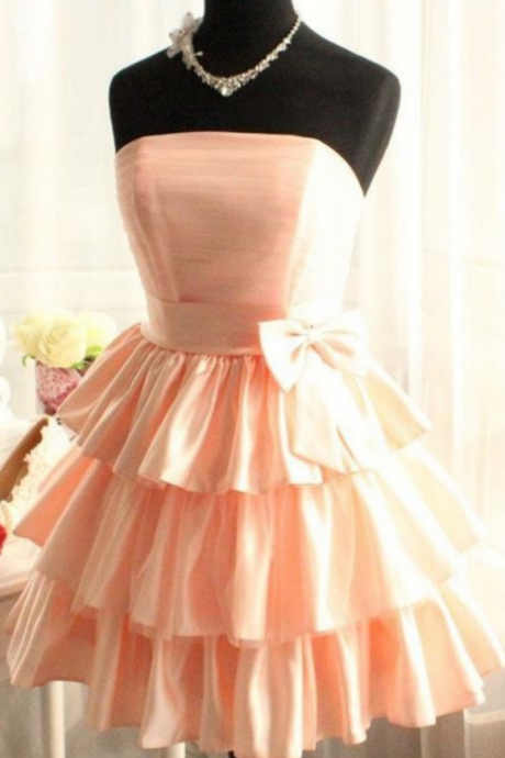 Real Made Short Satin Pink Homecoming Dresses Bridesmaid Dresses