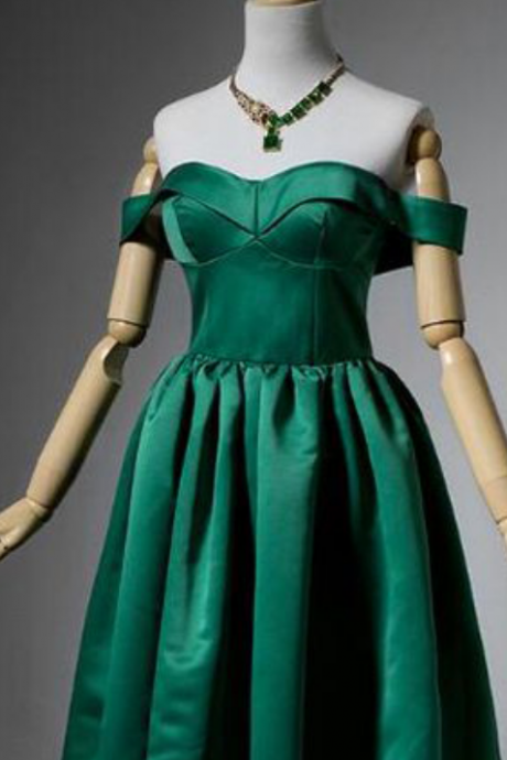 Simple A-Line Off-The-Shoulder Dark Green Satin Short Homecoming Dress