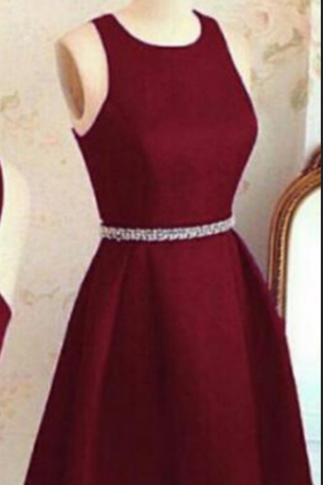 Stylish A-Line Jewel Sleeveless Criss Cross Burgundy Short Homecoming Dress