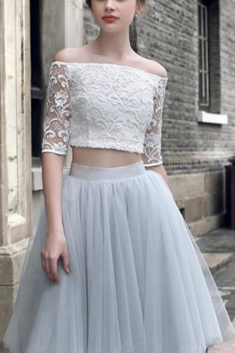 Two Piece A-Line Off-The-Shoulder Half Sleeves Knee Length Homecoming Dress With Lace
