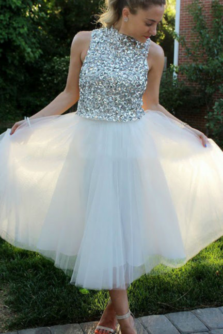 White Beads Tulle Homecoming Dress