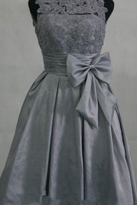 Grey Satin Knee Length Homecoming Dress,Sleeveless Homecoming Dress With Belt Bow