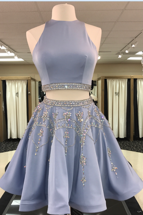 Blue Satin Crystal Beaded Skirt Two Piece Homecoming Dress Short Party Gowns