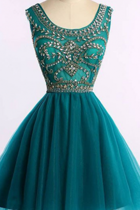 Homecoming Dresses,Green Homecoming Dress,A-line Homcoming Dresses,Beaded Homecoming Dresses,V-back Homecoming Dresses,Short Prom Dresses,Party Gowns