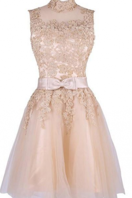 Cute Light Champagne Round Neckline Short Homecoming Dresses