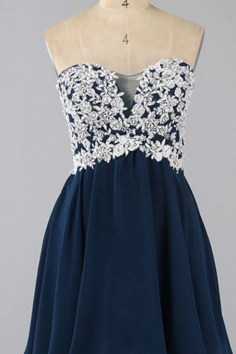 Floral Lace Appliques Navy Blue Chiffon Sweetheart Short A-Line Homecoming Dress, Graduation Dress