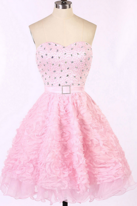 Charming Pink Prom Dress with a Sash, Sweetheart Homecoming Dresses with Allover Beaded Bodice, Short Sleeveless Prom Dresses