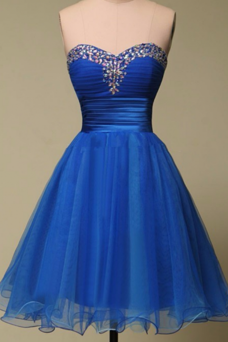 A line Sweetheart Sleeveless Beaded Crystal Royal Blue Evening Party Short Homecoming Dresses