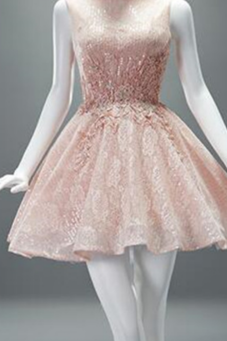 Simple Homecoming Dresses,Modest Homecoming Dress,Cute Short Prom Gown,A-line Homecoming Dress,Pink Lace Party Dress