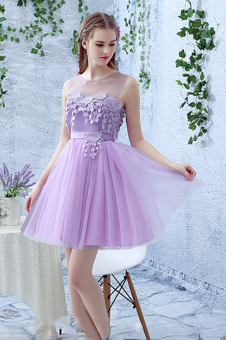 Fashion Beautiful Jewel Short Homecoming Dresses A-Line Applique Tulle Cocktail Dresses Graduation Dresses Prom Dresses