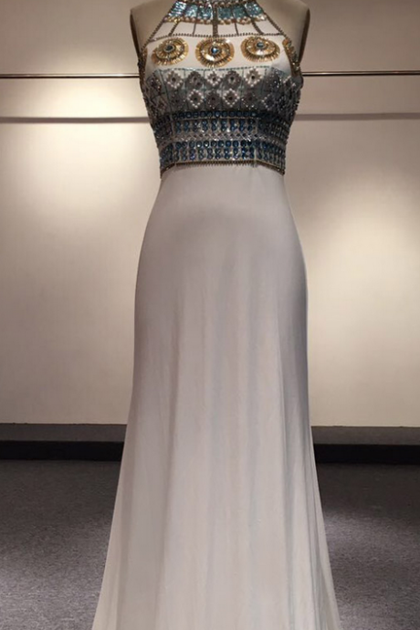 Chic Backless Party Dresses Sheath High Neck Top Sequined Beaded Crystal Princess Two Straps Long Formal Pageant Dresses