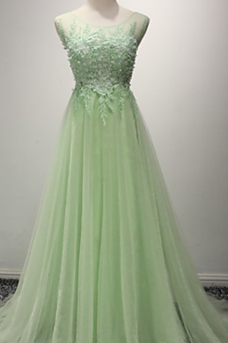 Light Green Tulle Prom Dresses Lace Appliques Women Party Dresses