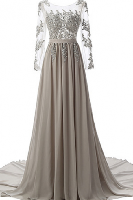 Grey Chiffon Prom Dresses Full Sleeves Women Party Dresses
