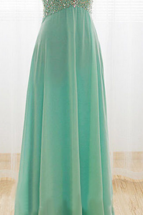 Long Chiffon Prom Dresses, Evening Dresses, Party Dresses with Crystals Pleat