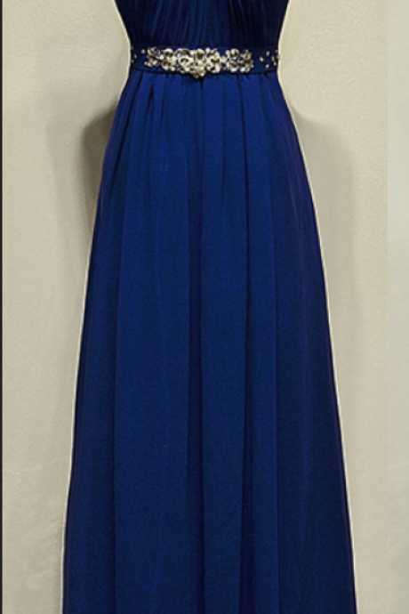 High Neck Royal Blue Chiffon Prom Dresses , Party Dresses, Evening Dresses