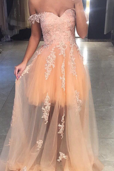A-Line Champagne Party Dresses,Tulle Prom Dresses, Off Shoulder Party Dresses, Tulle Formal Gowns