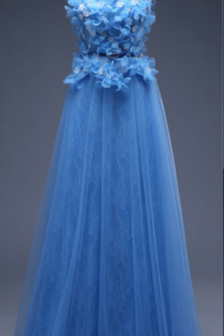Blue Tulle Prom Dresses Flower Appliques Women Party Dresses