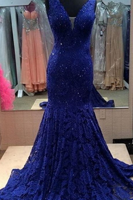 Dark Blue Lace Prom Dresses Deep V-neck Mermaid Women Party Dresses