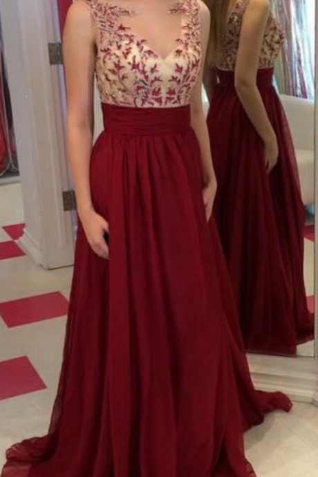 Burgundy Chiffon Prom Dresses Scoop neck Appliques Women Party Dresses