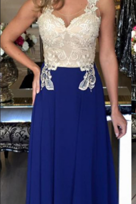 Navy Blue Chiffon Prom Dresses Open back Lace Women Party Dresses