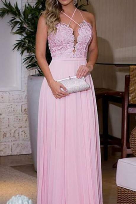 Pink Chiffon Prom Dresses Halter Neck lace Women Party Dresses