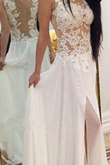 Charming Long Chiffon Prom Dresses Lace Appliques Floor Length Party Dresses Tailor Made Women Dresses