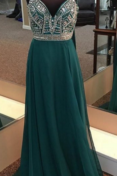 DARK green prom dress,long evening gowns,sexy prom dress, v neck prom dress