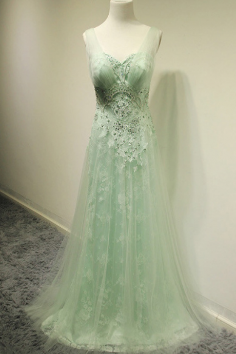 Mint Beading Lace Prom Dresses,Long Party Dresses,Classy Prom Gowns,Handmade Evening Gowns,Prom Dress