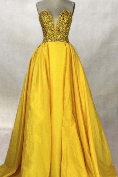 Beaded Long Prom Dresses A Line Backless Party Dresses Gold Silver Sequins Black yellow Satin Evening Gowns