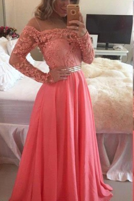 Long Sleeves Chiffon Prom Dresses Off Shoulder Floor Length Party Dresses Custom Made Women Dresses