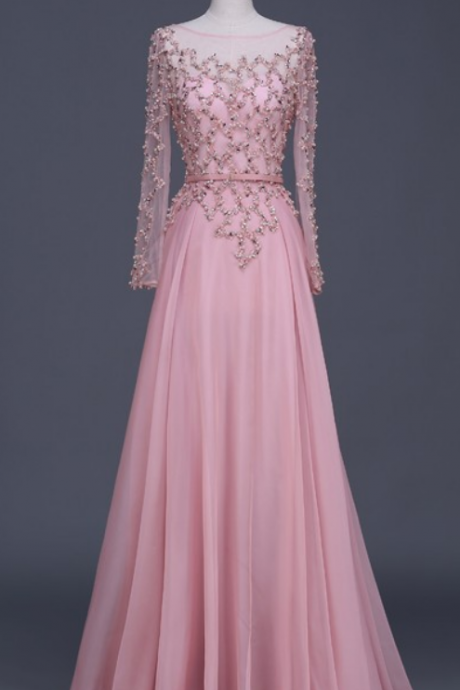 Long Sleeves Prom Dresses,Beaded Prom Dresses,Pink Prom Dresses,Evening Dresses,Chiffon Prom Dress,Plus Size Party Dresses