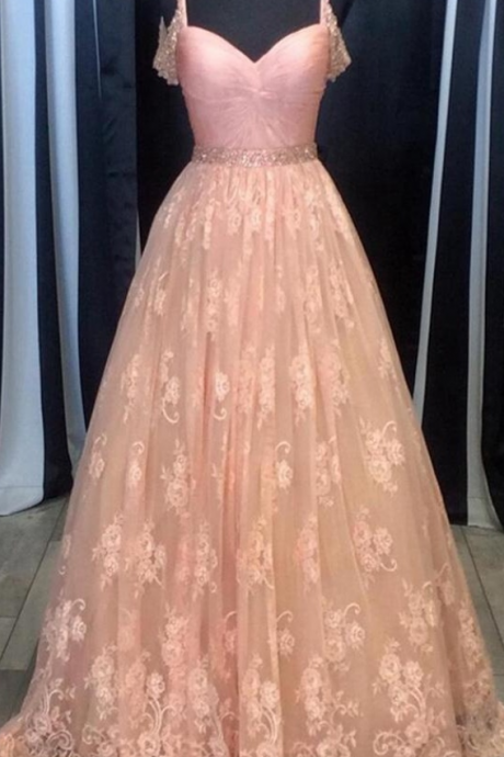 Spaghetti Straps Pink Lace Prom Dresses,Girly A-line Prom Gowns,Formal Evening Dresses,Long Prom Dress,Dresses For Teens,Women Dresses
