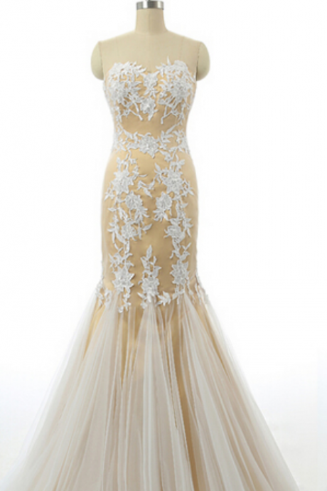 Strapless Champagne Prom Dresses,White Applique Prom Dress