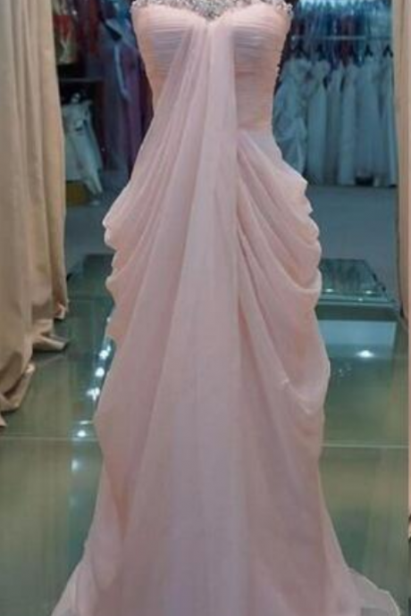 Pink Elegant Long Bridesmaid Dresses, Pink Formal Dresses, Evening Gowns, Party Dresses